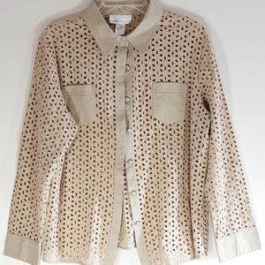Susan Graver Tan Eyelet & Cotton Top/Jacket Pretty